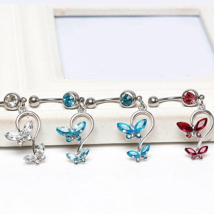 HTB1uZIJIVXXXXbaXVXXq6xXFXXXu Women's Beautiful Butterfly Body Piercing Jewelry Navel Belly Button Dangling Ring - 4 Colors