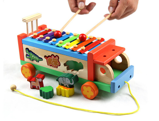 Baby Toy Wooden Pound & Sound Musical Bench Xylophone Double Pounding Early Childhood Preschool Training Toys