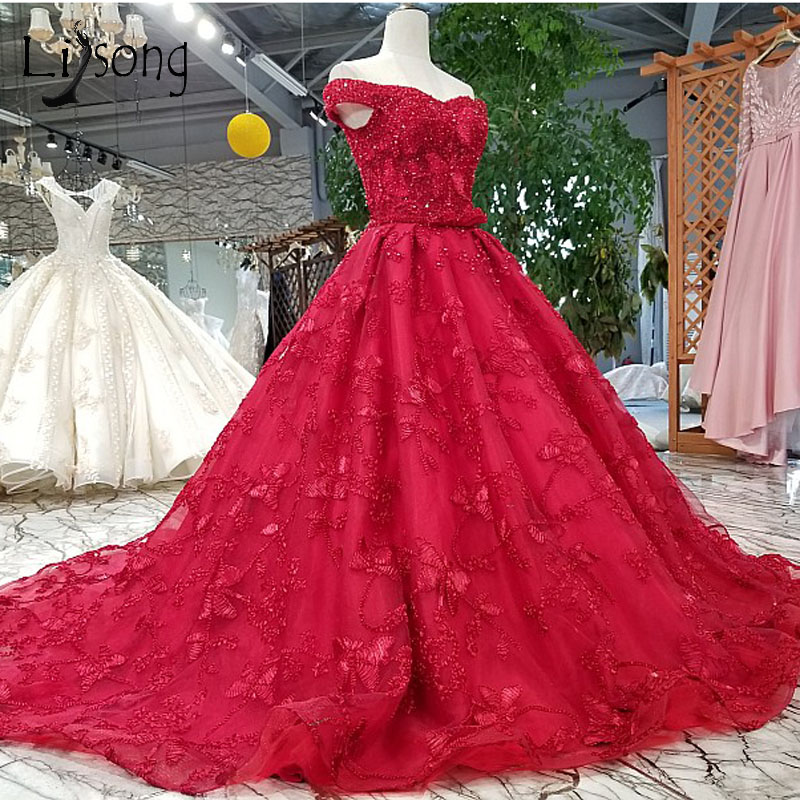 Luxo Rose Red Frisada Lace Longo Prom Vestidos Arábia Árabe 2018 Apliques Bow Oriente médio Vestidos de Baile Fora Do Ombro Formal vestidos