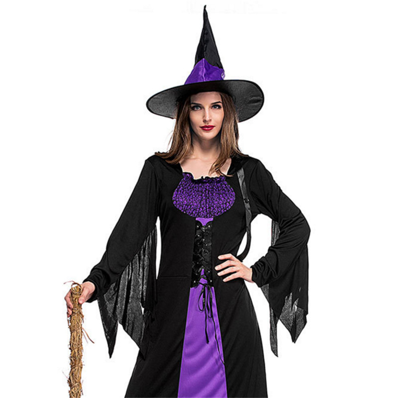 High qualit Witch Dress Masquerade Carnival clothing Fantasia Infantil Adult Fairy Wicked witch Cosplay Party Halloween Costumes