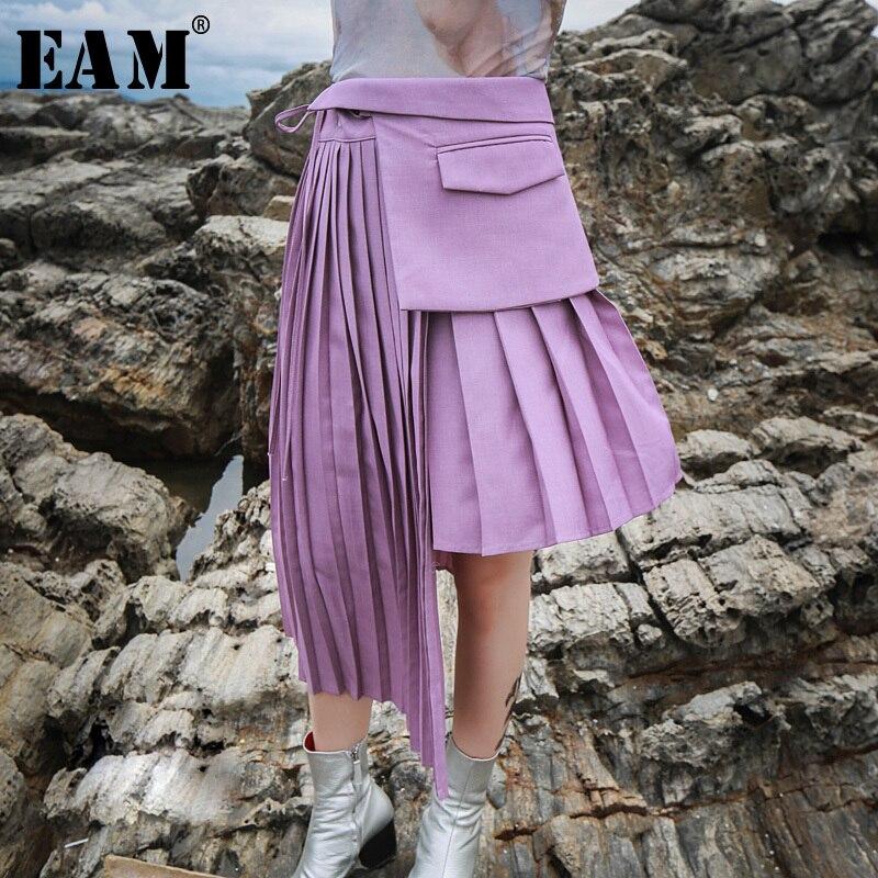 [EAM] 2019 новая весенняя Высокая талия плиссированная строчка нерегулярная свободная 3 шт. подвижная полуюбка Женская мода JH351