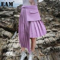 [EAM] 2019 New Autumn Winter High Waist Pleated Stitching Irregular Loose 3 Piece Movable Half body Skirt Women Fashion JH351