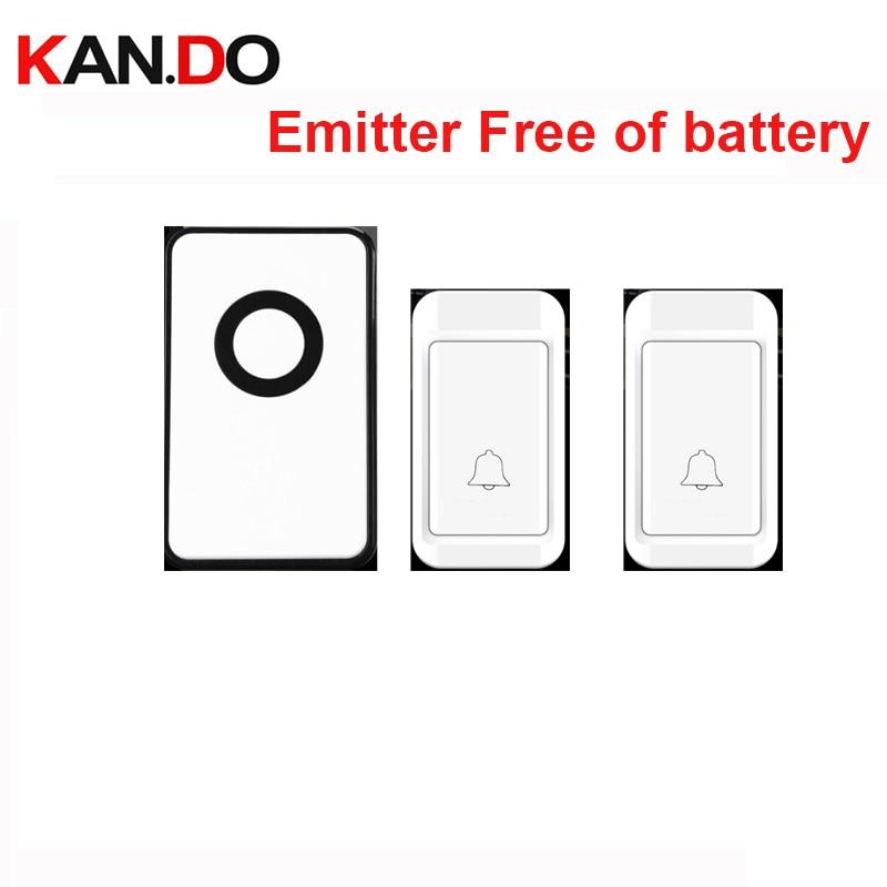 Emitter Free Of Battery Bell Ring 2 Push Wireless Door Bell Set 110-220V Wireless Doorbell Ip44 120M Door Chime Door Ring