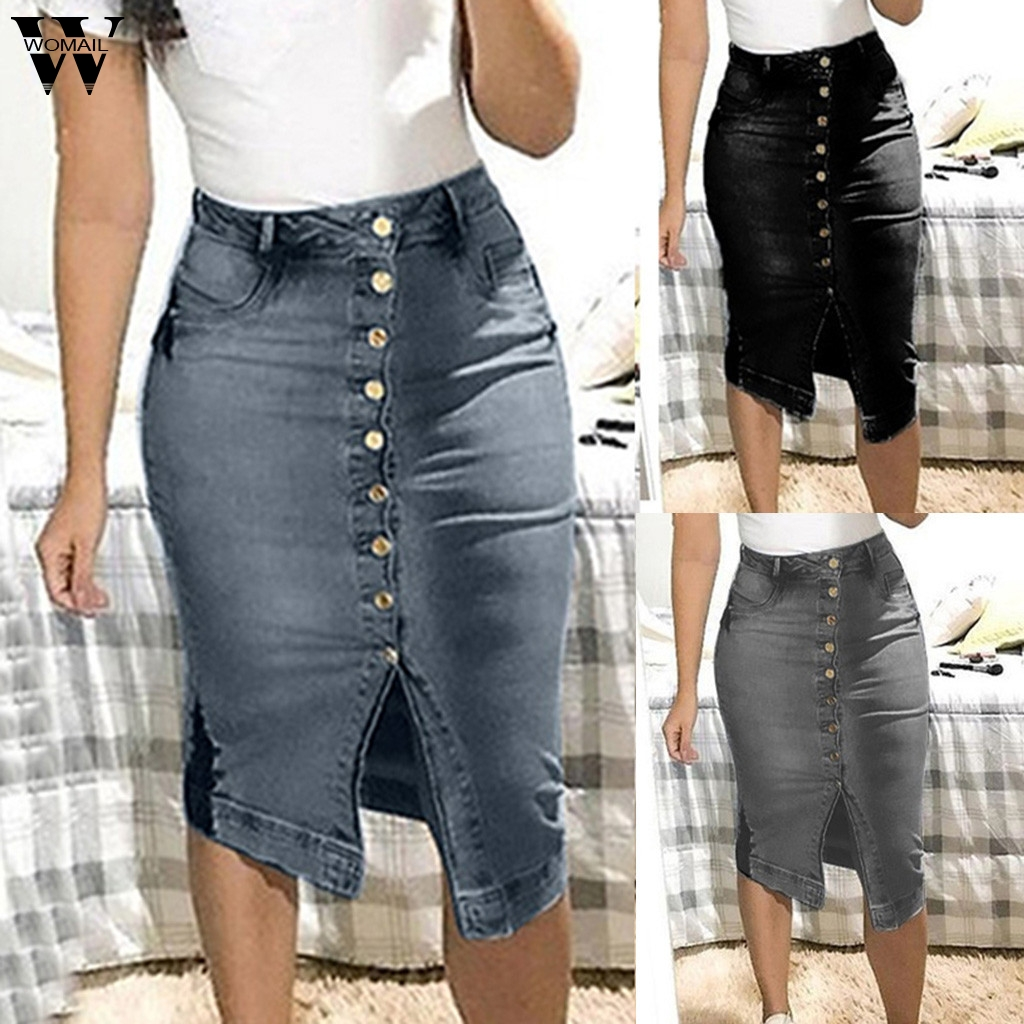 Womail Women Skirt Short Denim Skirts For Women Plus Size Skirts Buttons Pockets Split Bandage Jeans Skirt High Waist M523