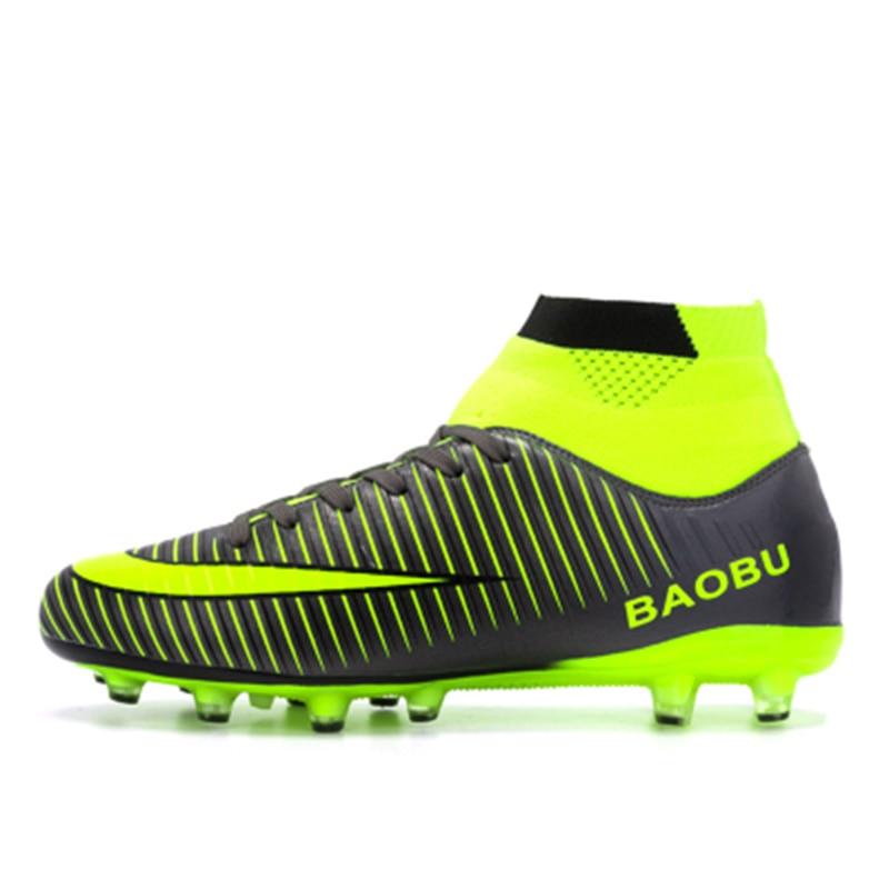 Leoci offre spéciale hommes grande taille crampons de Football haute cheville chaussures de Football longues pointes en plein air Football Traing bottes pour hommes haute cheville