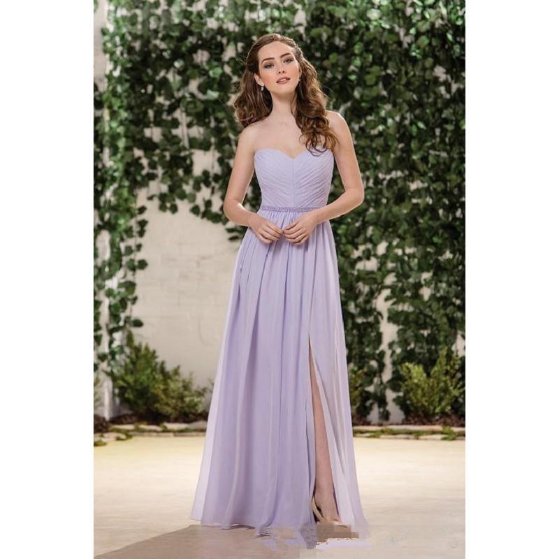 Jasmine Lilac Lavender Chiffon Bridesmaid Dresses Sweetheart Side ...