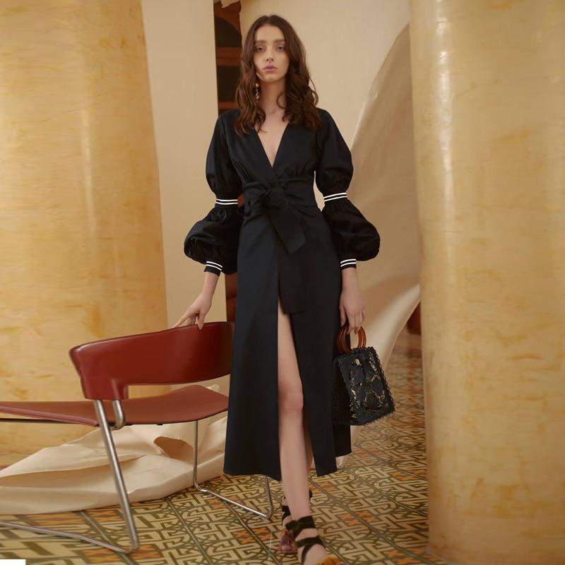 Kadın Giyim'ten Elbiseler'de Uzun elbise Pist Yüksek Kalite 2019 Bahar Yenİ Kadin Moda Parti Çalışması Vintage Zarif Şık Tatlı Siyah Uzun Kollu Elbiseler'da  Grup 1