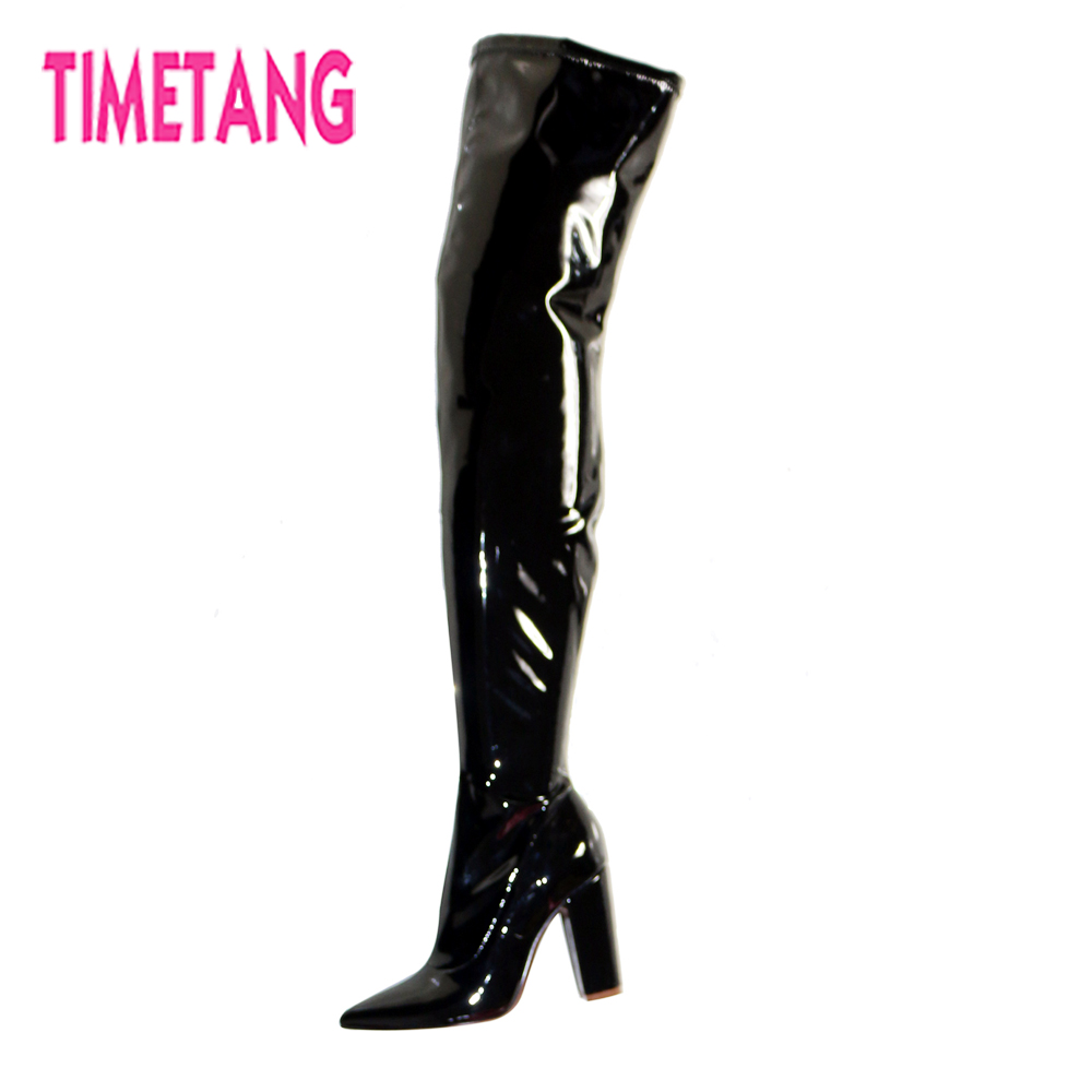 TIMETANG Fashion Women Shoes Free Shiping Cool Pointed Toe Square Heel Over-the-Knee Woman Long Boots Customized Thigh High BootTIMETANG Fashion Women Shoes Free Shiping Cool Pointed Toe Square Heel Over-the-Knee Woman Long Boots Customized Thigh High Boot