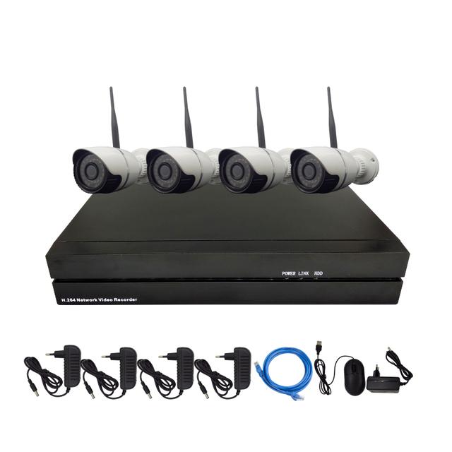 4 PCS HD 720 p 1.0mp Bala De Vídeo Sem Fio Wi-fi Câmera IP Kit com 4CH 720 P/960 P/1080 P NVR Onvif e Protocolo Privado CCTV sistema