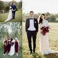 Vintage Lace Bohemian Country Long Sleeve Wedding Dresses 2017 Muslim Sheer Neck Full length Wedding Bridal Gown