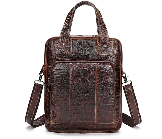New Crocodile Style Genuine Leather Messenger Bags Men Crossbody Shoulder Bag Cowhide For Male Ipad Tablet PC Package Briefcases