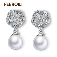 f406e45dd FEEHOW Gorgeous Design Pear Cluster Flower Shape Hang Imitation Pearl Top  Quality Cubic Zirconia Bridal Dangle