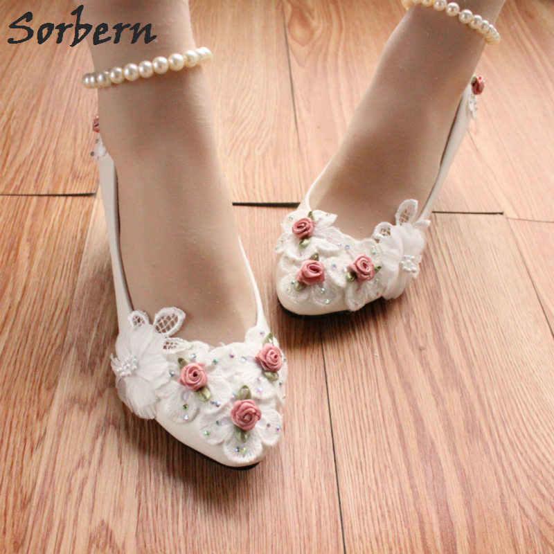 Beading Ankle Strap White Bridal Shoes Kitten Heels Cute Rose