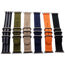 Купить с кэшбэком Sport Nylon Canvas Fabric Smart Watchband 22mm 24mm Quality Nylon Watch band For Apple Watch band 38mm 42mm Nato Strap