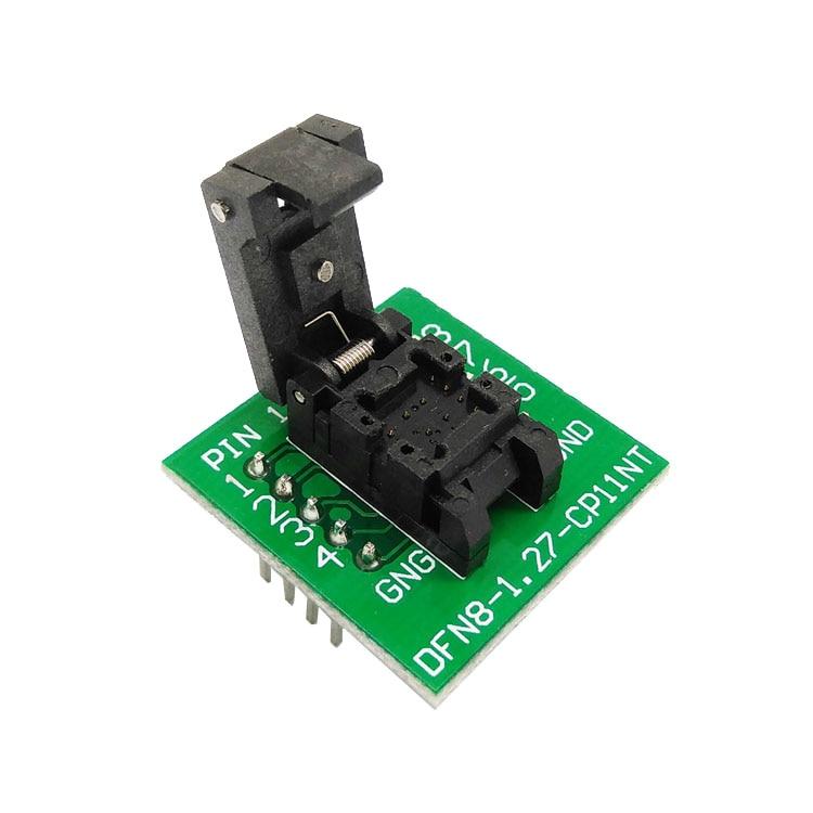 QFN8 DFN8 WSON8 Programming Socket Pogo Pin IC Test Adapter QFN8-1.27-CPO1PNL Pitch 1.27mm Clamshell Size 5*6 Burn in Socket
