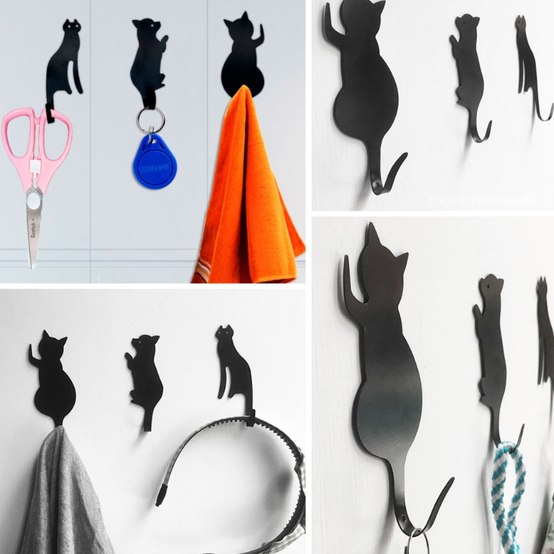 3pcs Cat Tail Shaped Kitchen Wall Door Metal Hook Key Hanger Decorative Hanger Clothes Storage Rack Tool-W110