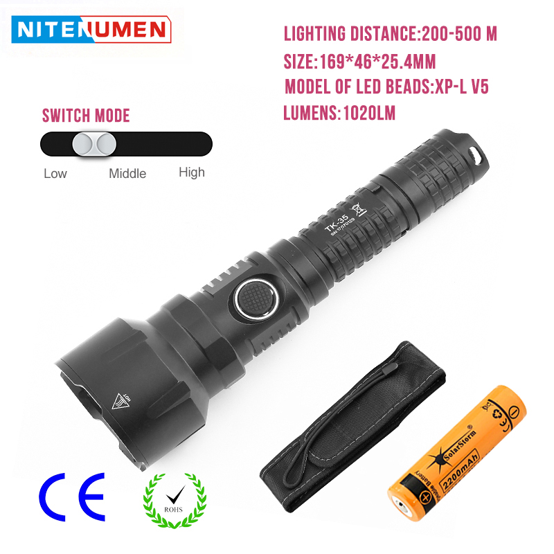 LED Flashlight USB Rechargeable LED Torch Pocket Tactical Switch Strong Light Waterpoof Fishing Camping Light with 18650 Battery