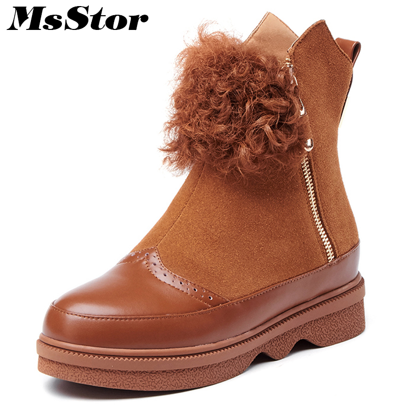 MsStor Round Toe Low Heel Women Boots Shoes Fashion Zipper Fur Ankle Boots Women Winter Shoes Flat Short Plush Boots Shoes Woman round toe flat heel zipper ankle boots