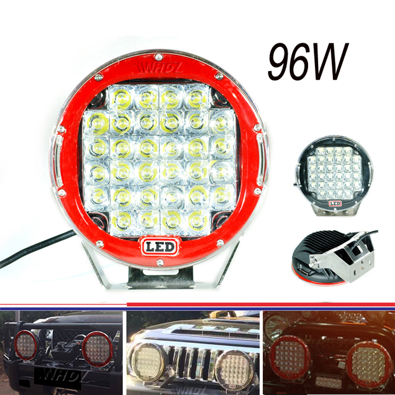 9inch 96w Black Red Round Spot LED Work Light for Offroad Truck Car ATV SUV Jeep Boat 4wd ATV Driving Lamp 1pc 4d led light bar car styling 27w offroad spot flood combo beam 24v driving work lamp for truck suv atv 4x4 4wd round square