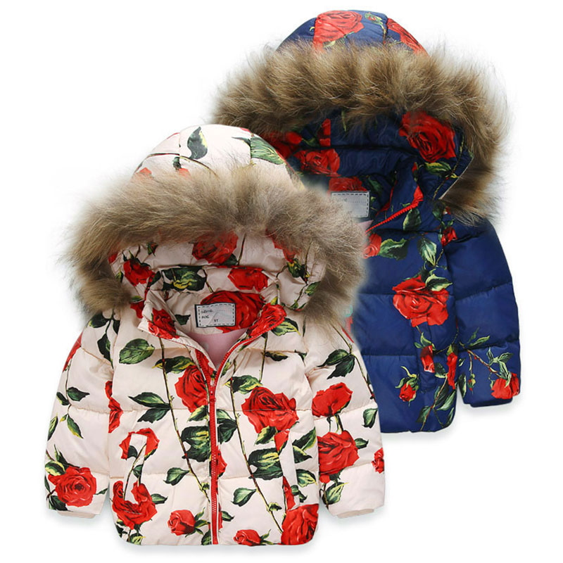 90% White Duck Down Jacket For Girls Filling Fur Collar Girls Winter Coat Fashion Floral Printed Kids Clothing Good Quality top quality maternity long jacket 90% white duck down coat winter mother cotton padded loose clothing thickening white black red