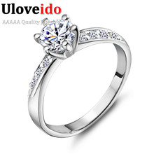 Vintage Silver Jewelry Wedding Rings for Women 2016 Fashion Jewelry Bridal Ring Birthday Gifts Austrian Crystal Zircon Cool J048