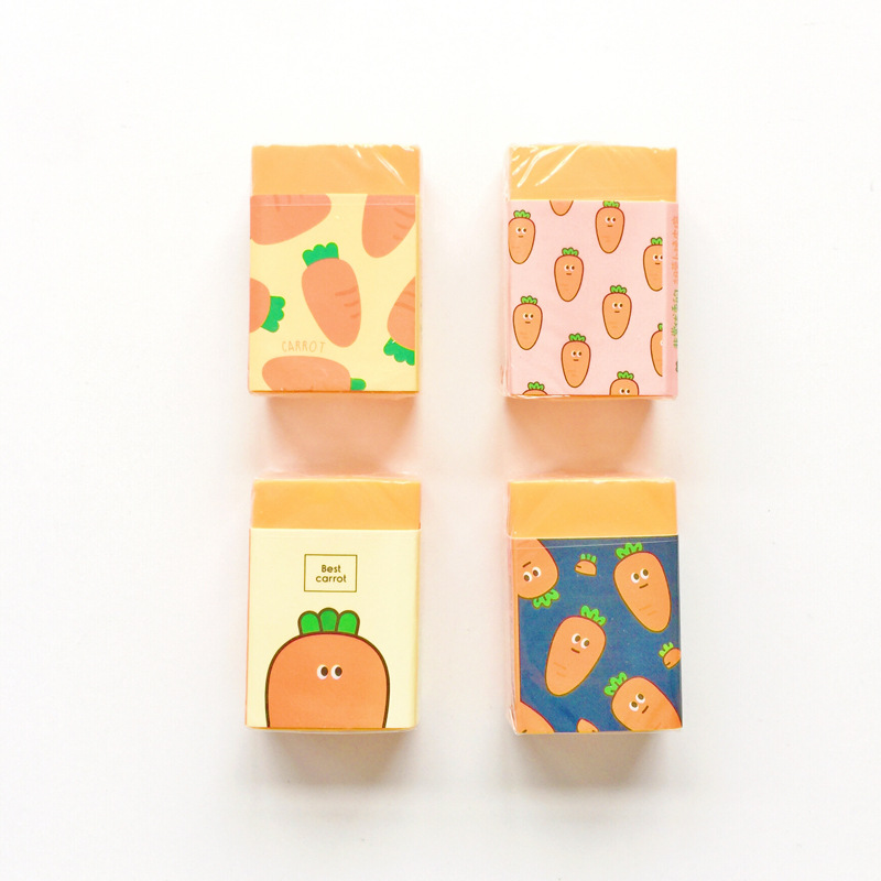 Kawaii Cute Cartoon Carrot Eraser Pencil Rubber Novelty For Kids School Supplies Student Office Stationery
