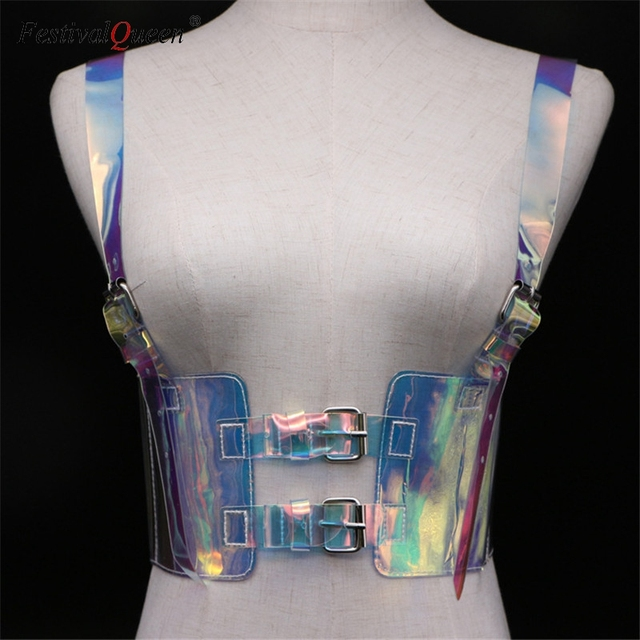 FestivalQueen frauen PVC transparent einstellbare taille gürtel festival tank tops streetwear laser hologramm crop top