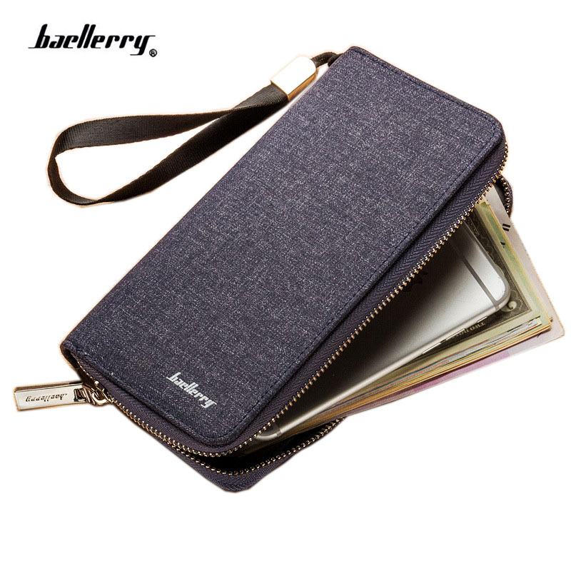 New Luxury Brand Men Wallets High Capacity Clutch Wallet Canvas Banknote Clip Coin Purse Male Wrist Strap Wallet Phone Bag