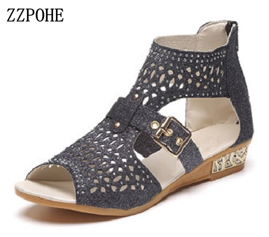 ZZPOHE Summer New Women's Fashion Sandals Women Casual Comfortable Sweet Roman Wedges Sandals Ladies Shoes Plus size 36-40 phyanic 2017 gladiator sandals gold silver shoes woman summer platform wedges glitters creepers casual women shoes phy3323