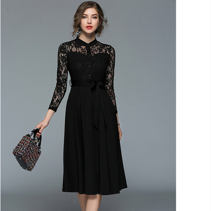HANZANGL European Style 2018 Spring New Women's Lace Dresses Elegant Wrist Stand Collar Hollow Out Casual Party Dress redblack
