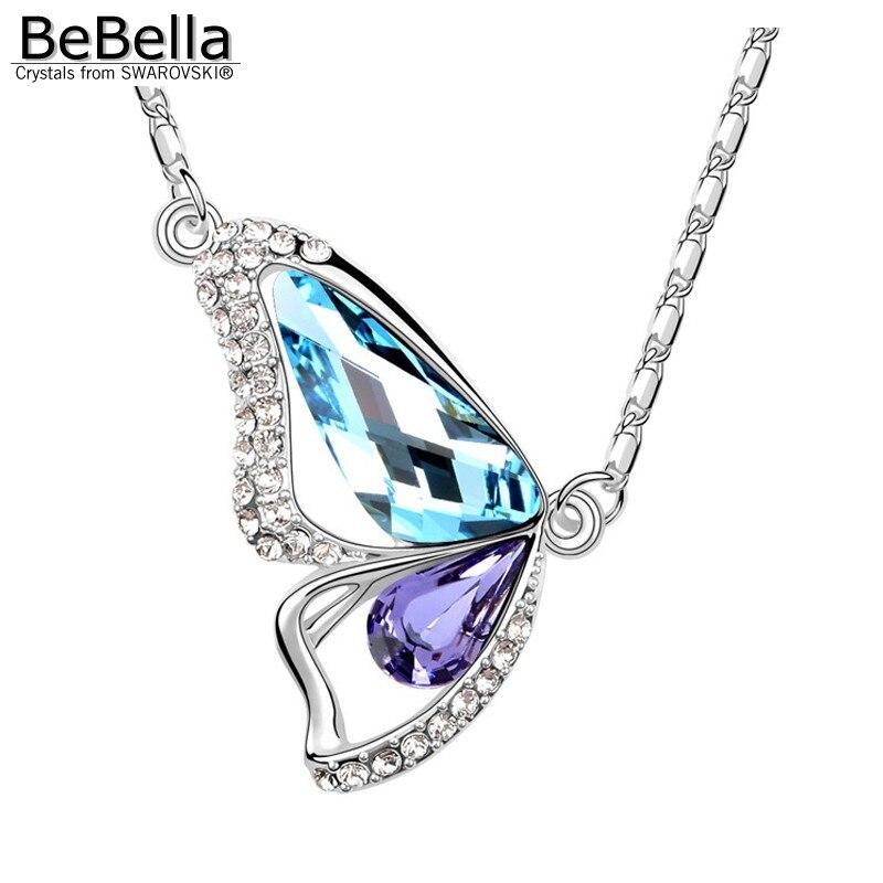 BeBella Кристальное ожерелье с подвеской в виде бабочки с кристаллами Swarovski для женщин, девочек и детей, рождественское модное ювелирное изделие, подарок - Окраска металла: Aquamarine Tanzanite