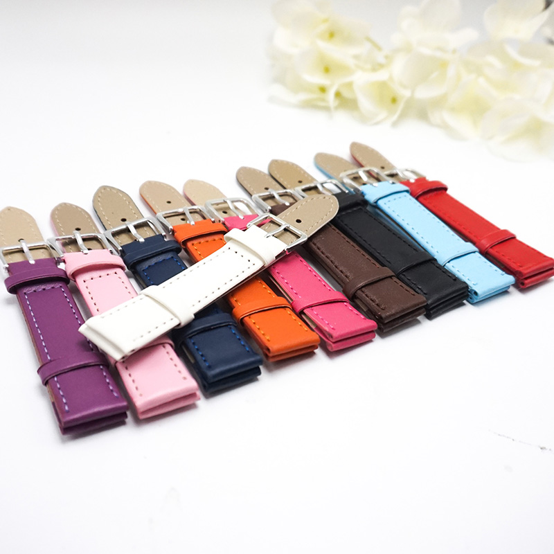Candy colors Plain weave PU leather strap Watchband 12mm 14mm 16mm 18mm 20mm straps women 2018 New watchbands for watches J019