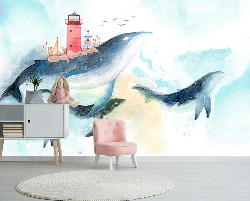 [Self-Adhesive] 3D Dolphin Lighthouse 6 Wall Paper Mural Wall Print Decal Wall Murals