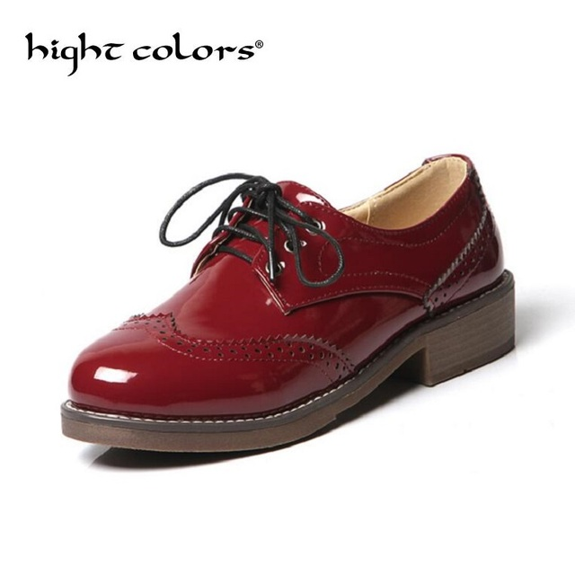 ad884dbe181e New Women Casual Brogue Shoes Black Red Patent Leather Lace Up Women  England Oxford Vintage Round Toe Women Flats Size 34-43
