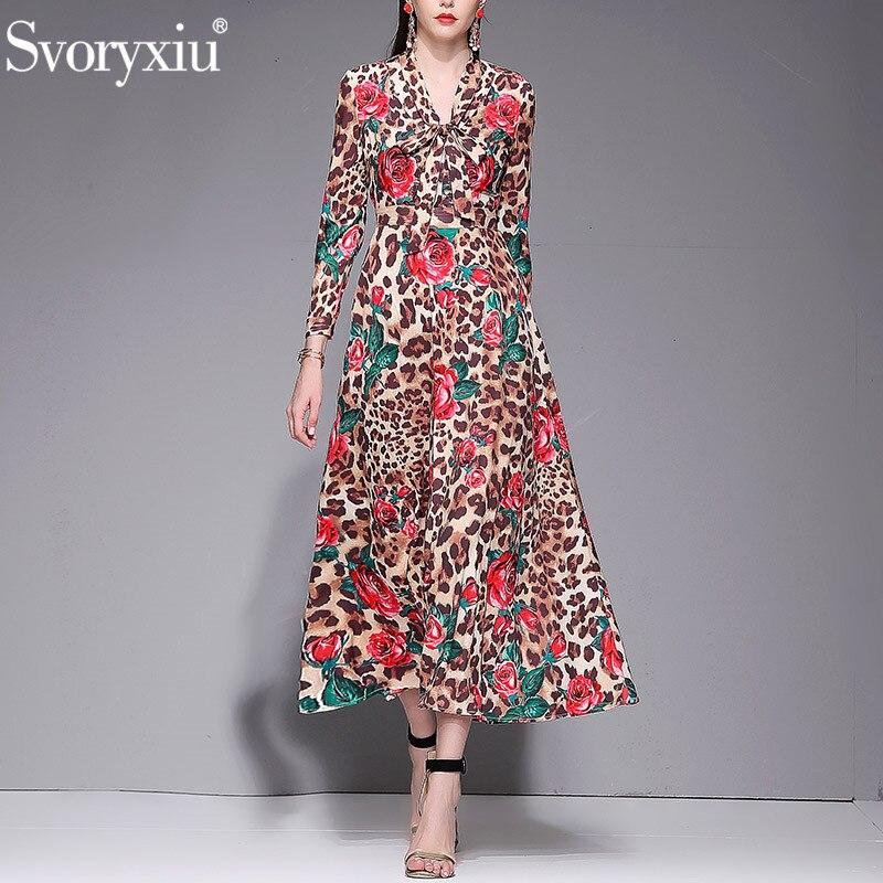 Svoryxiu Elegant Runway Spring Summer Rose Flower Leopard Print Maxi Dress Women s Female Robe Party