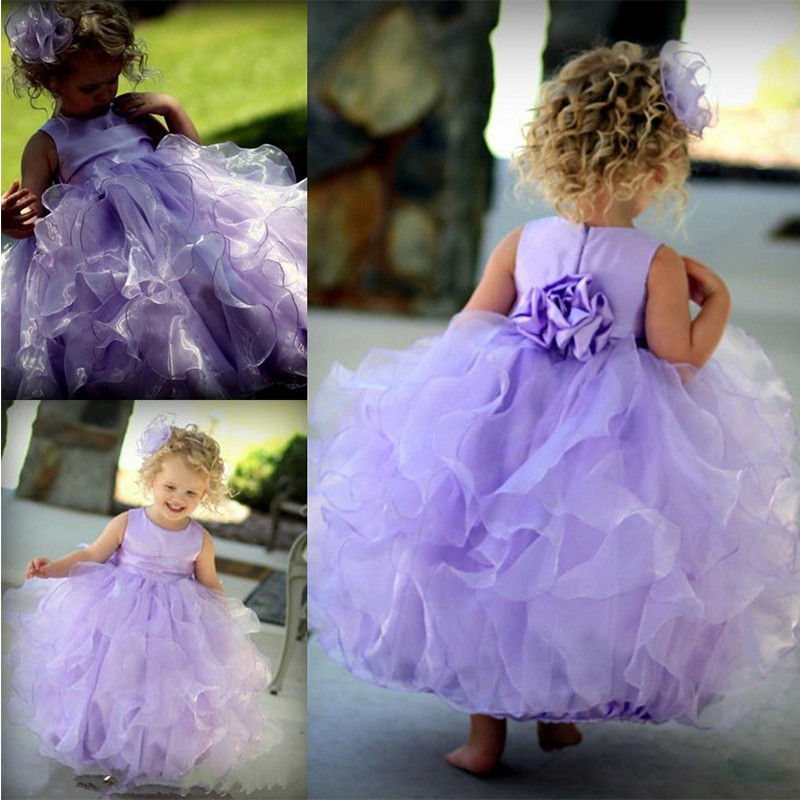 Gorgeous Lilac Baby Party Frocks Big Bow Toddler Glitz Pageant Dresses Ankle- Length Vestidos De Daminha