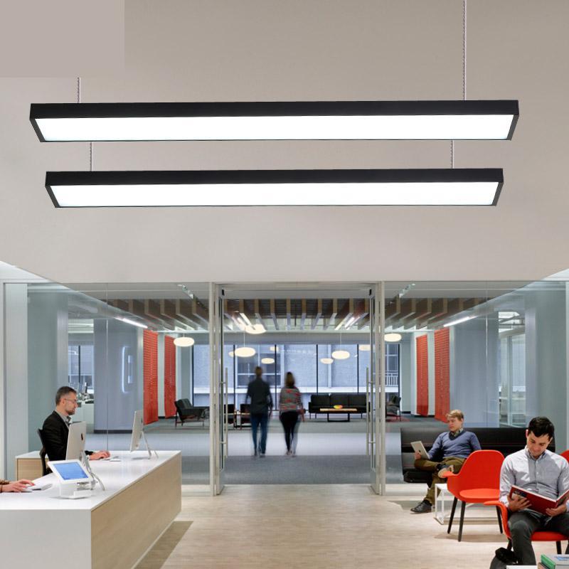 Led escritório Luz Pingente moderno luz de tira retangular Hanglamp modelagem lâmpadas do corredor varanda corredor luzes de linha de pesca - 3
