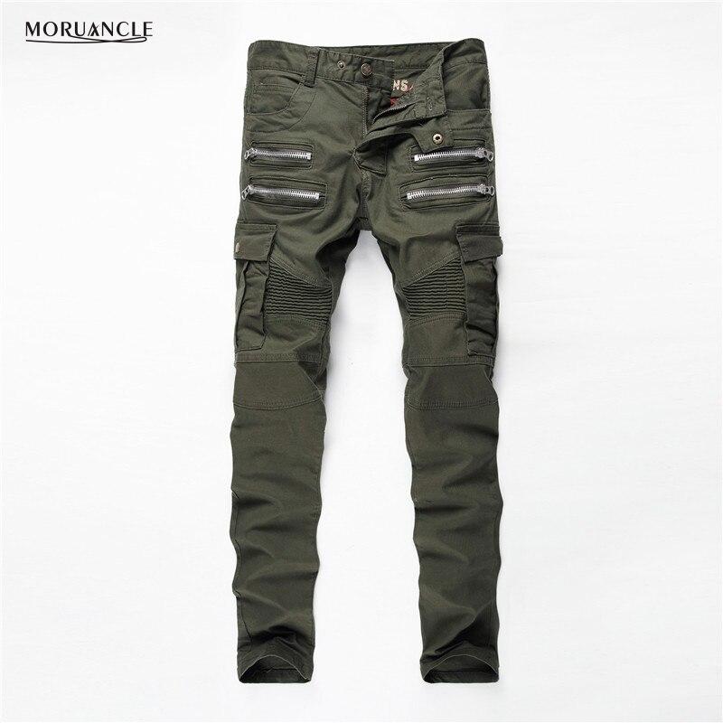 ФОТО Military Style Men Cargo Jeans Joggers Army Green Fashion Strentch Denim Pants Multi Zipper Pockets Designer Biker Jean Trousers