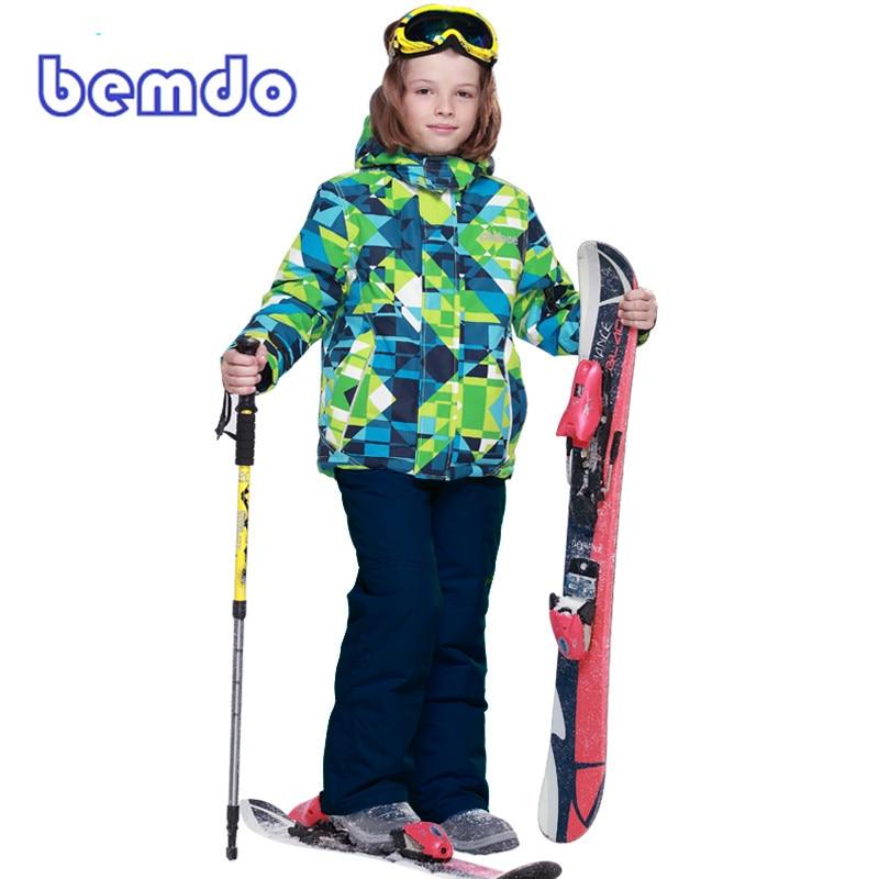 PHIBEE Winter Fleece Warm Ski Suit Boys Waterproof Mountain Skiing Jacket Coat + Bib Pants Children Kids Snowboard Snow Clothing