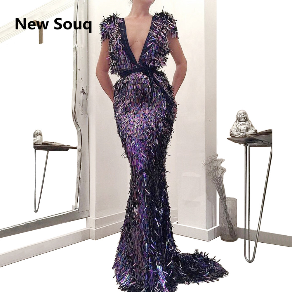 Exquisite Deep V-neck Mermaid   Prom     Dresses   2019 Cap Sleeves Evening Gowns Robe De Soiree Sweep Train Long   Prom     Dress