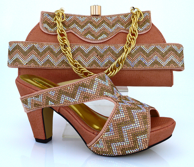 MM1010 Peach With New arrival african shoes and matching bag set with rhineston italian ladies high