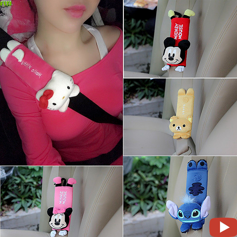 FLYJ 2pcs cute Cartoon Car Sefety Seat Belt cover Child isofix Seat belt Shoulder Pads Protection Plush Padding Auto Accessories