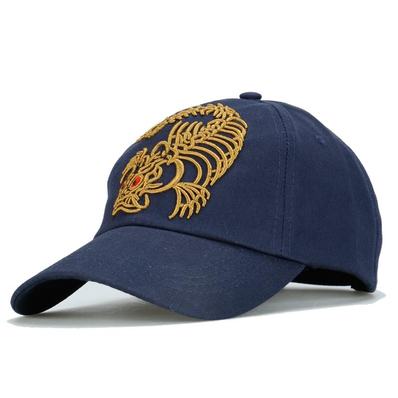 3D Three-dimensional embroidered fish bones dragon fishing hat baseball cap cotton twill cloth