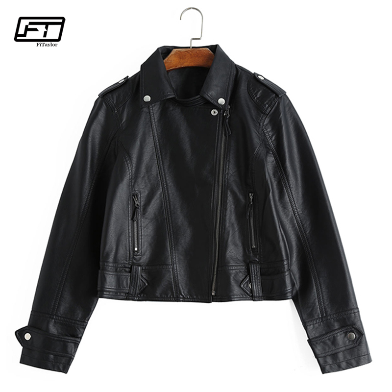 Fitaylor Women Motorcycle   Leather   Jacket Short Design Faux   Leather   Biker Coat Casual Basic Outwear Pink Black PU Bomber Jackets