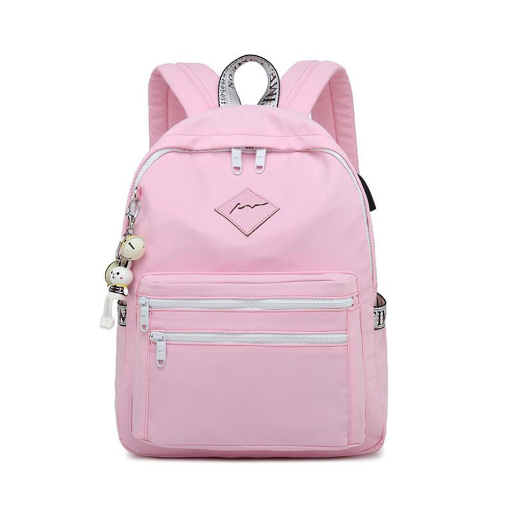 Fashion Lady Student Backpack Sub Charging Port School Bag New Simple Waterproof And Breathable Wear Backpack Travel Backpack