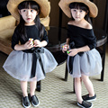 2017 Spring Summer Baby Girl Skirt Suit Little Kids Long-Sleeved T-Shirt + Voile Skirts 2 Pcs Children Leisure Clothing Set G540