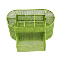PPYY NEW Pen Pencils Mesh Holder Stationery Container Desk Tidy Organiser Office School Green