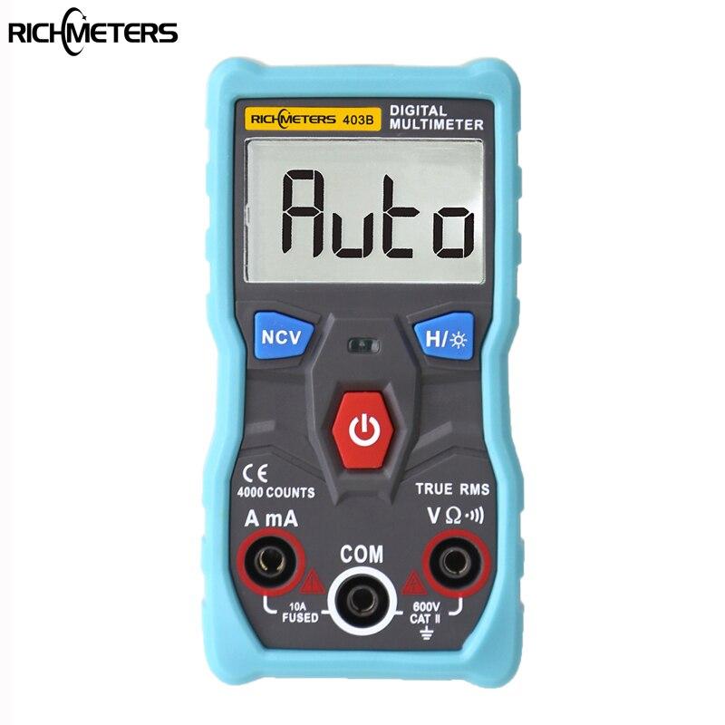 RM403B automático multímetro Digital de verdadero valor eficaz inteligente NCV 4000 Counts AC/DC tensión corriente Ohm herramienta de prueba