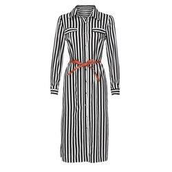 Kobiety na co dzień Sukienka w paski drukowane długie rękawy luźne przycisk bandaż pas koszulka długa Sukienka vestidos moda Sukienka 3