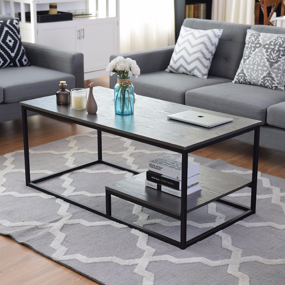 Giantex 2-Tier Coffee Cocktail Accent End Table Sofa Side Living Room Furniture W/shelf Living Room Furniture HW58266